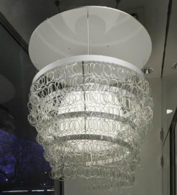 Leed lighting from recycled coke bottles kitchen studio of naples guggenheim chandelier kitchann style aloadofball Images