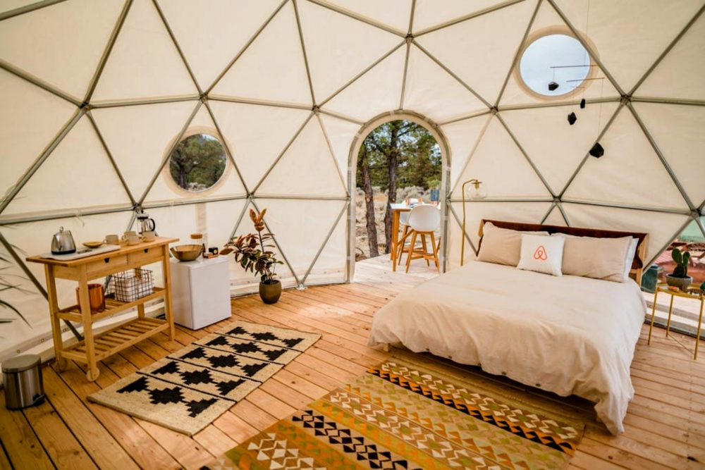 quaint sleeping area in geodesic dome
