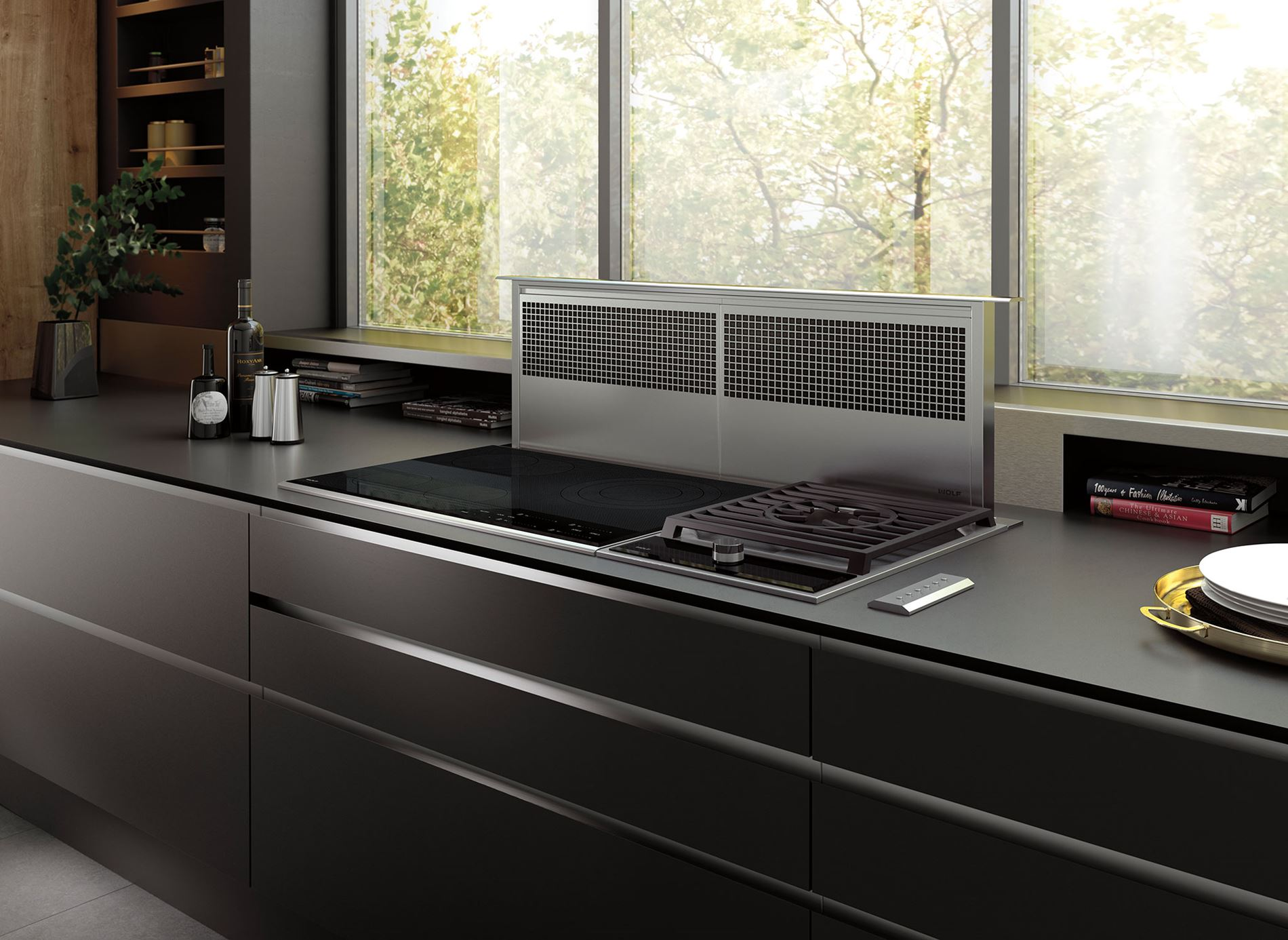 Modular cooking with downdraft