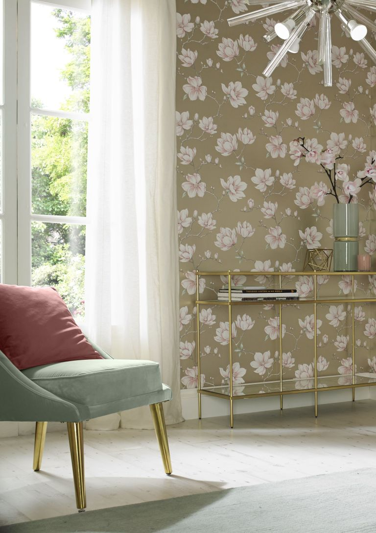 A beautifully hand painted blush Magnolia floral is inspiration for the Color of the Year 2018