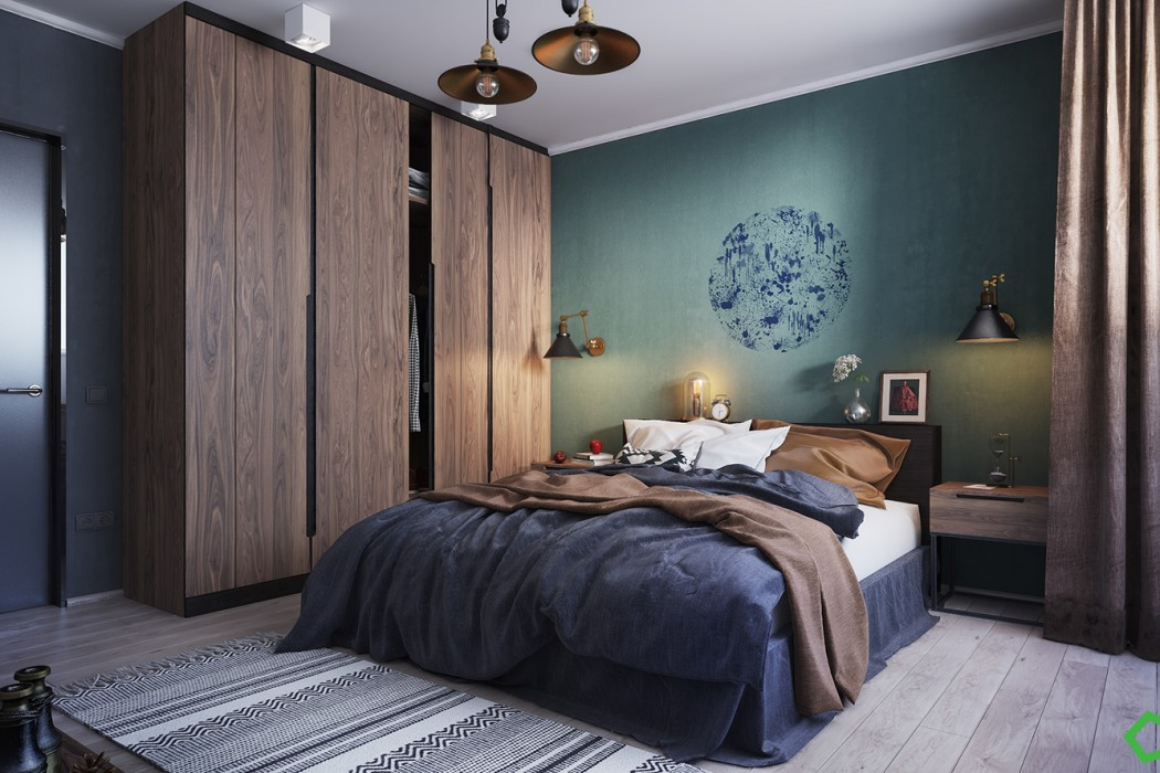 Loving this concpetual bedroom from Behance with The Green Hour inspirational wall.
