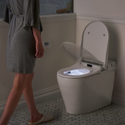 The most hygienic option is a hands-free toilet