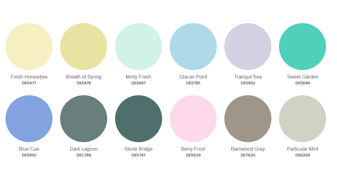Dunn Edwards Fresh and Free 2020 Color Palette