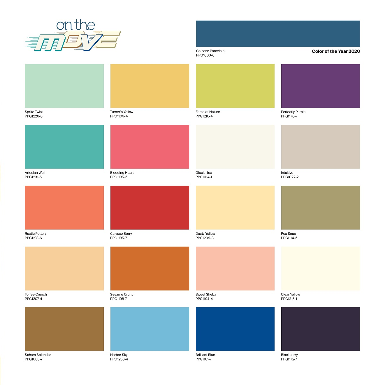 PPG color of the year 2020 - global color palette On the Move