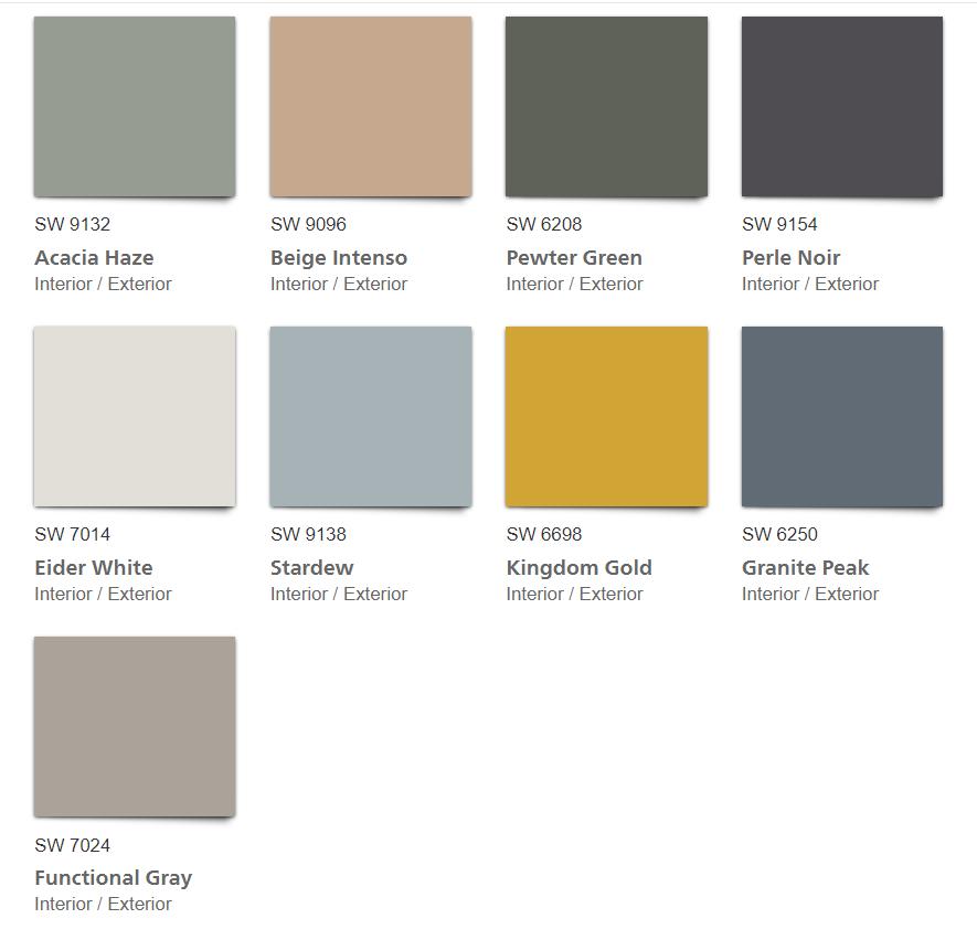 Haven 2020 Color Palette color chips