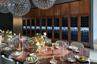 Signature Kitchen Suite Dining Room with Wine Columns