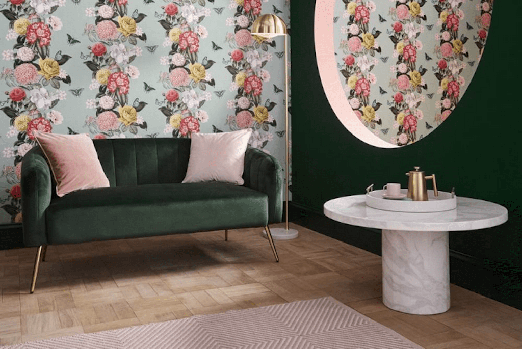 Graham & Brown Color of the Year 2020: Adeline paint mixed with wallpaper example