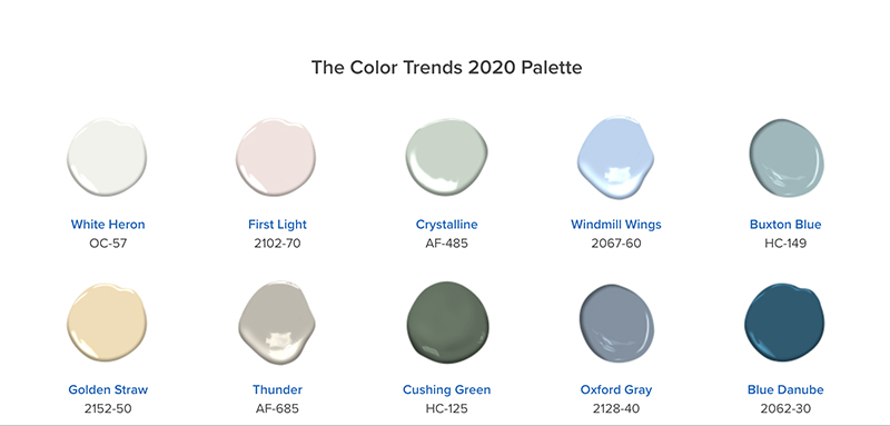 Benjamin Moore Color of the Year 2020: First Light droplet with 2020 palette