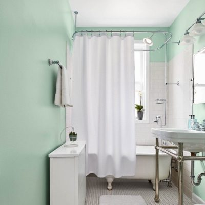 Mint paint color on door, example of 2020 color trend