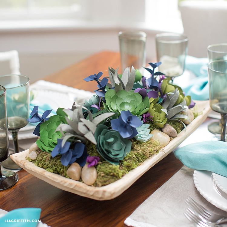Simple Yet Impressive DIY Thanksgiving Centerpiece with paper succulents