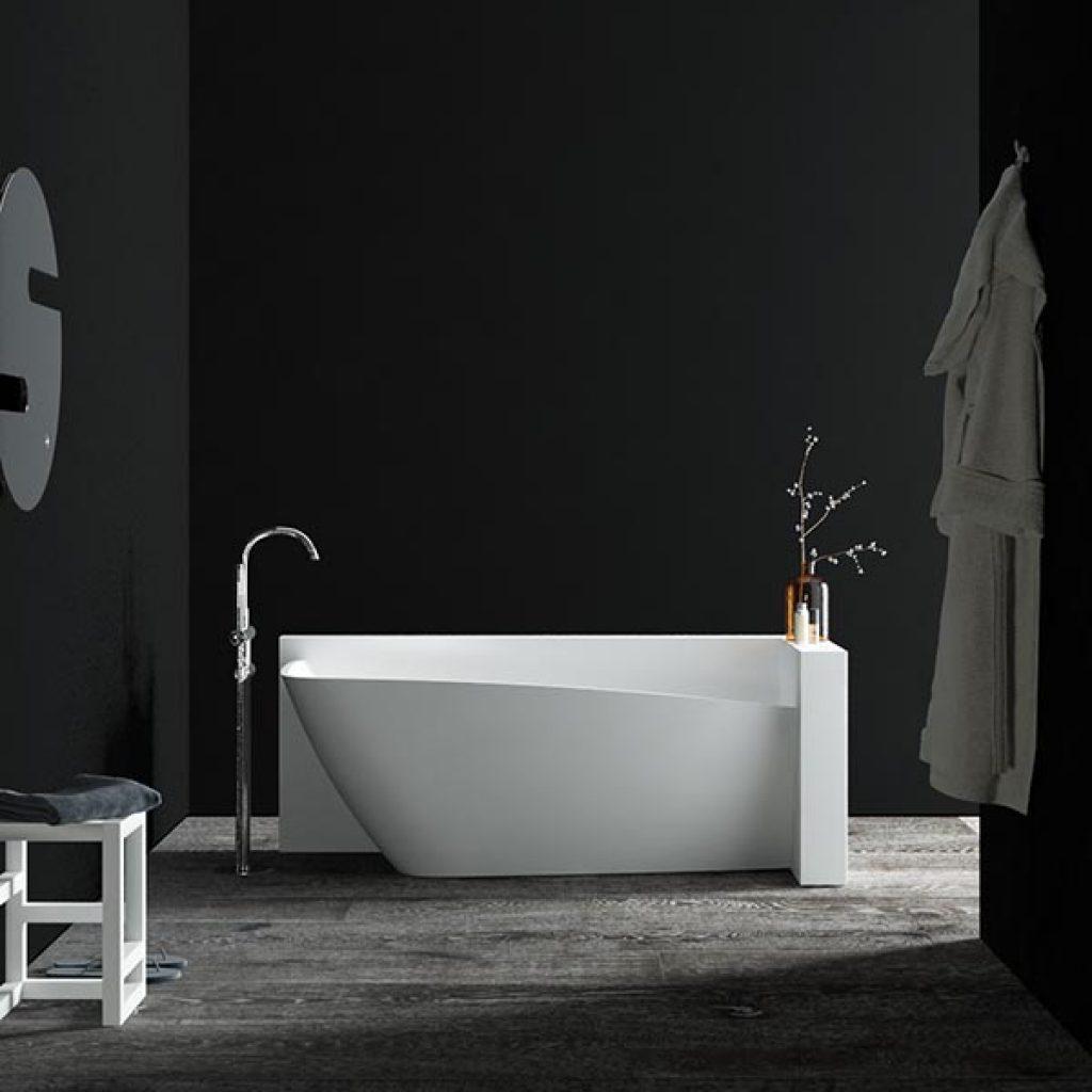 White Corian tub element