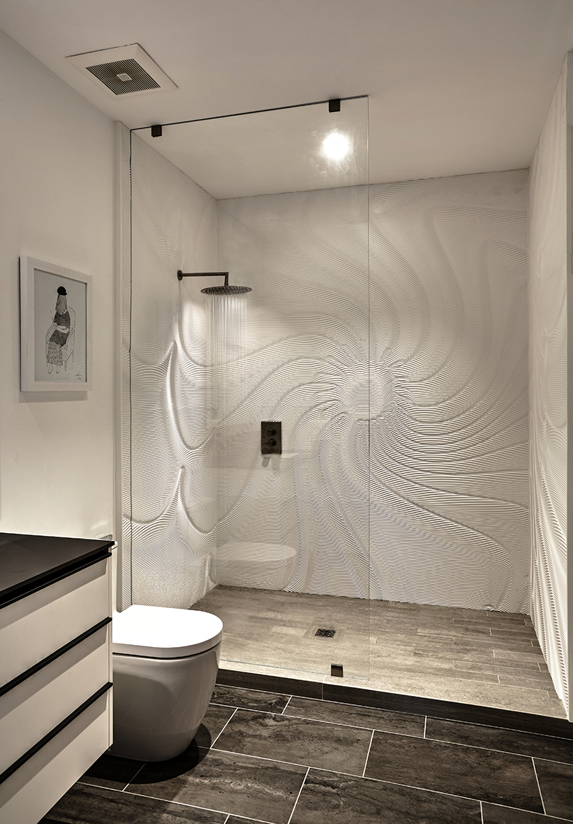 3D Carved Wall Panels: M.R. Walls + Corian shower