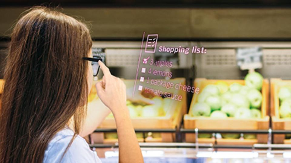 Bosch Smartglasses show heads up display shopping list
