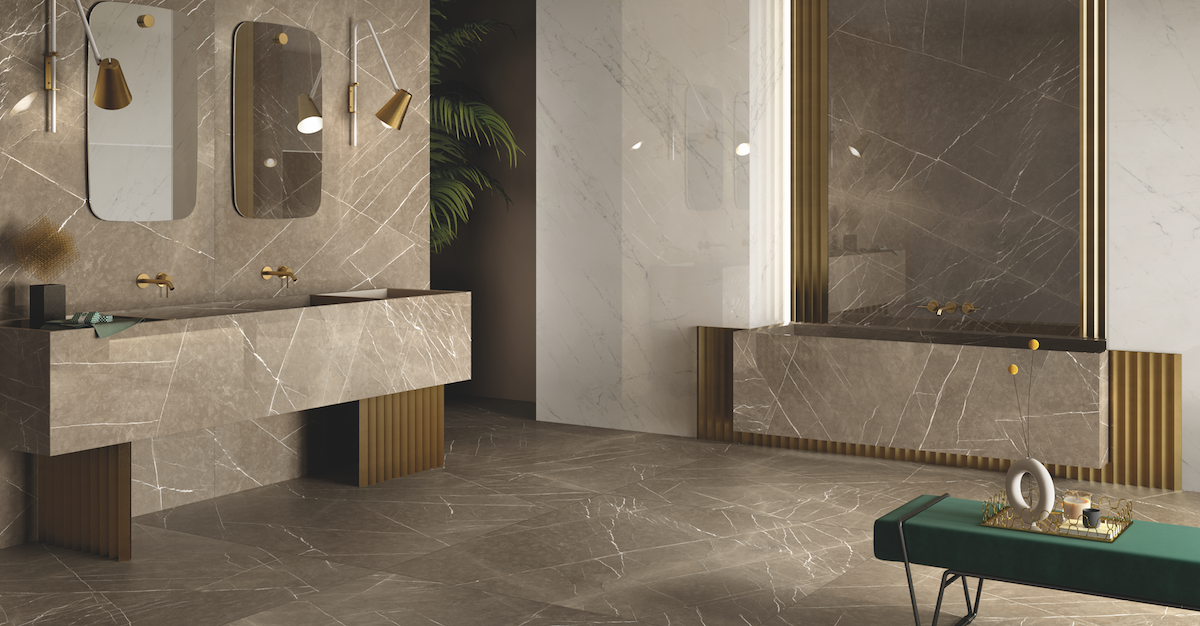USA Produced LFT Royal Marble Slabs shown in beige in bathroom design