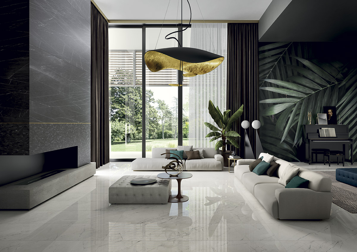 USA Produced LFT Royal Marble Slabs shown in charcoal in a living room design