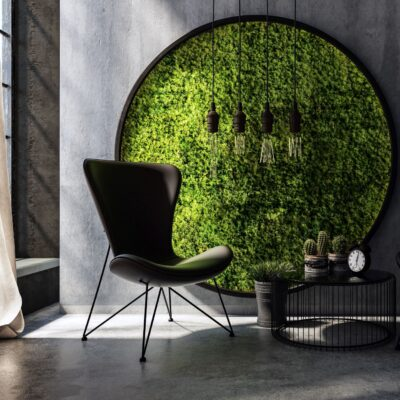Making Your Home Camera Ready in the Zoom Era with moss accent wall