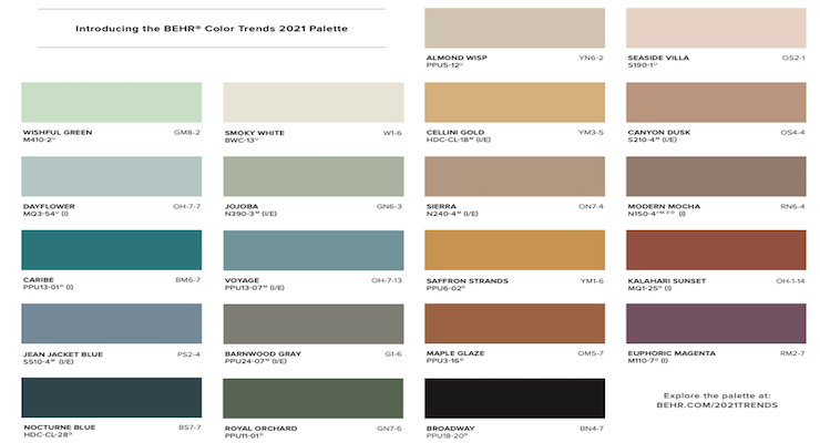 BEHR Color Trends 2021 Palette