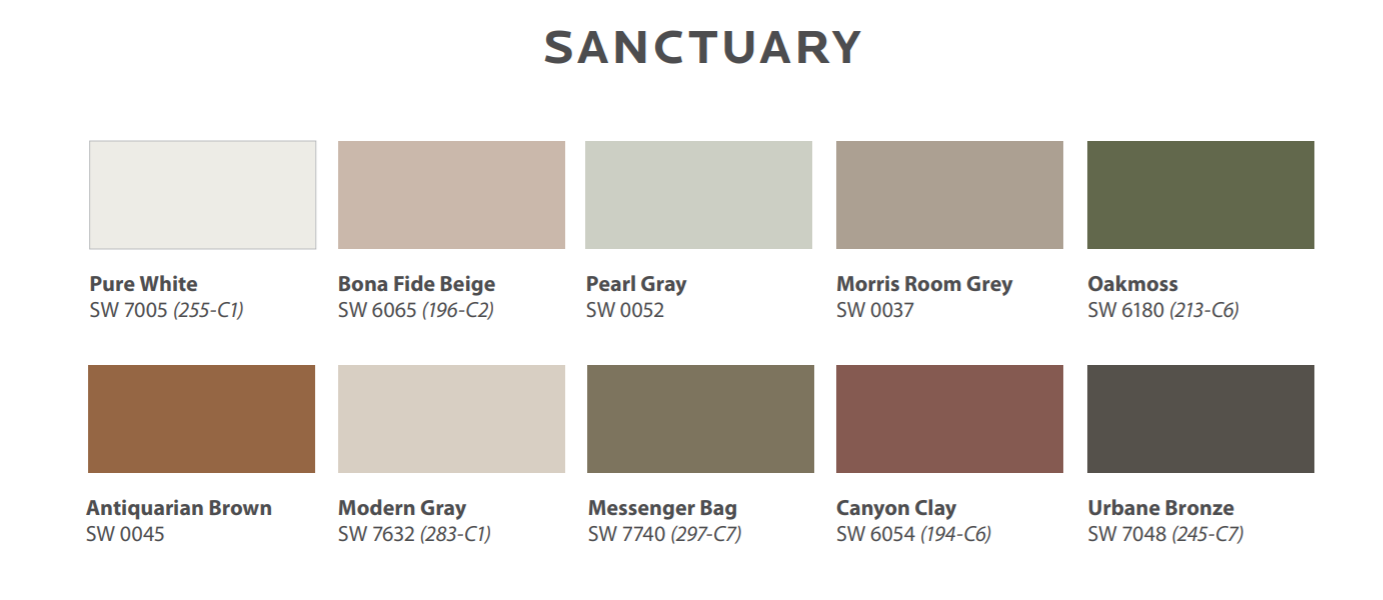 Sherwin-Williams 2021 Colormix Forecast Sanctuary Palette