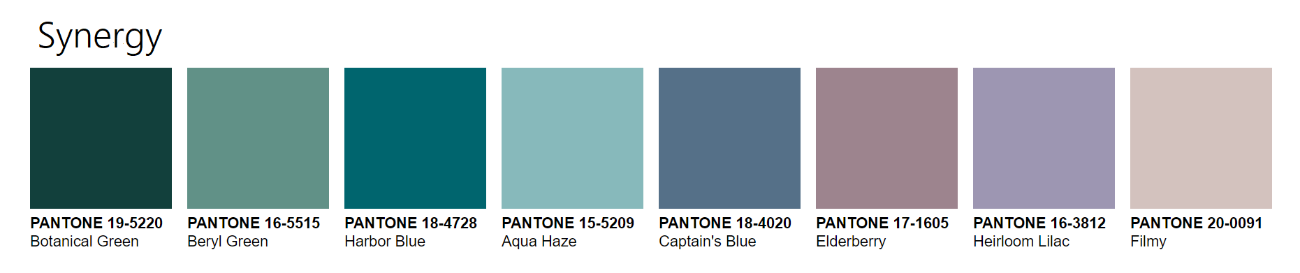 PANTONEVIEW Home + Interiors 2021 Synergy Palette