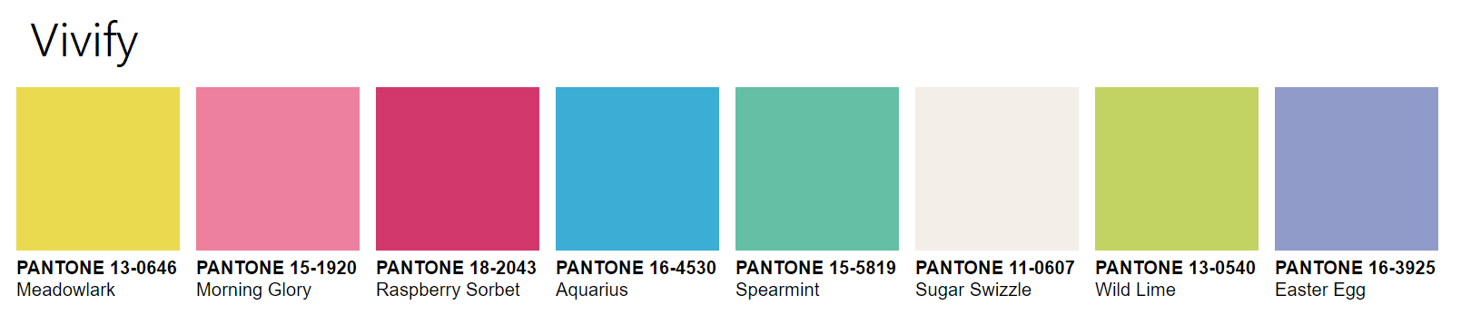 PANTONEVIEW Home + Interiors 2021 vivify Palette