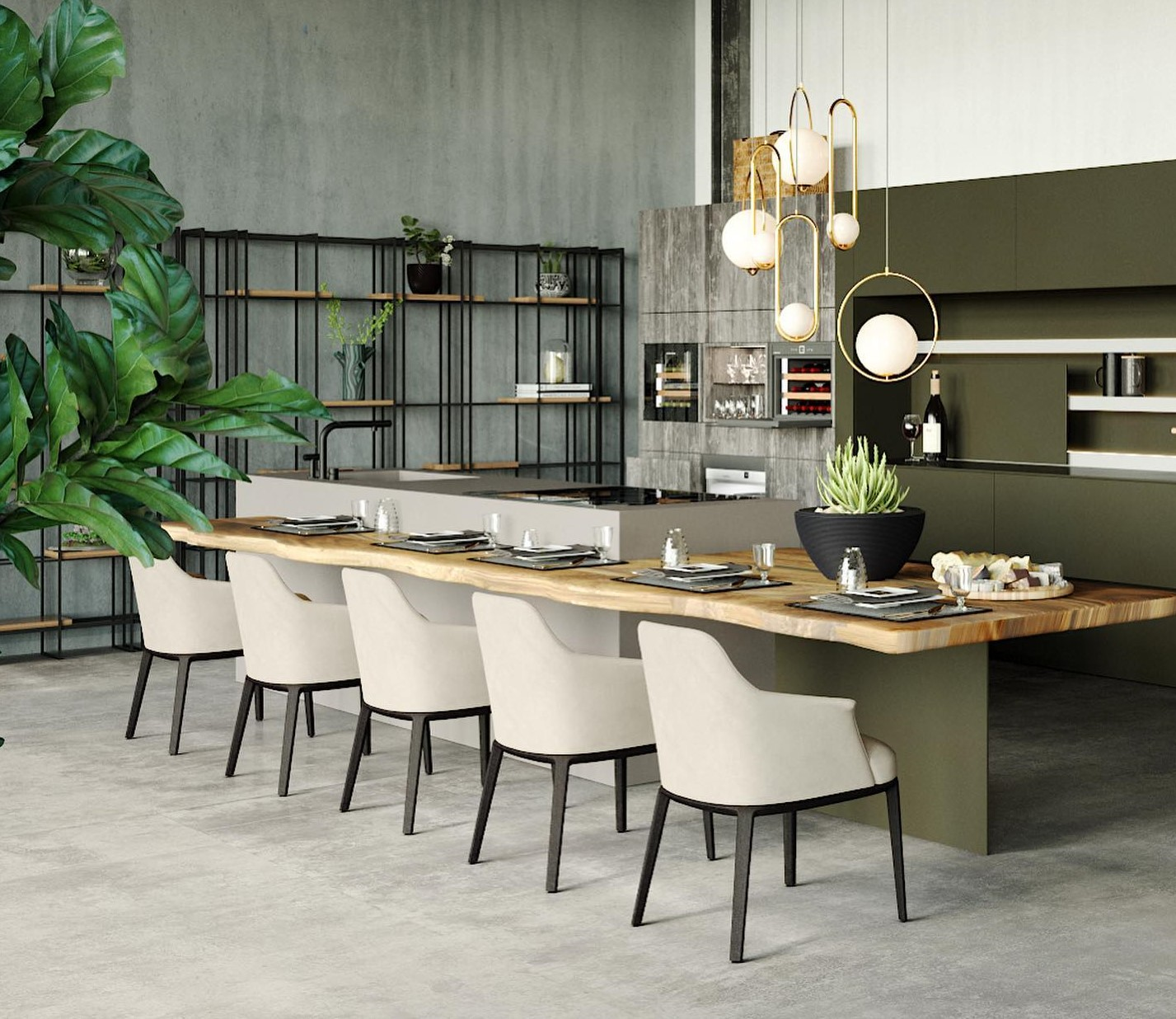 2021 Kitchen Trends include green cabinets